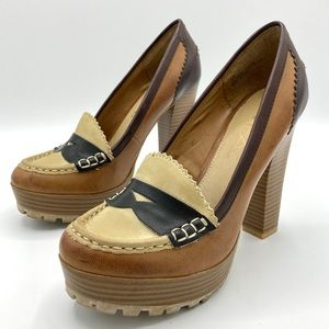 Adorable MIA y2k chunky brown leather heels